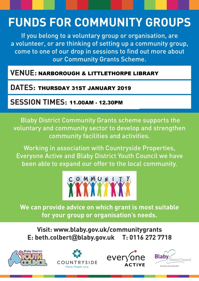 narborough library grants drop in session